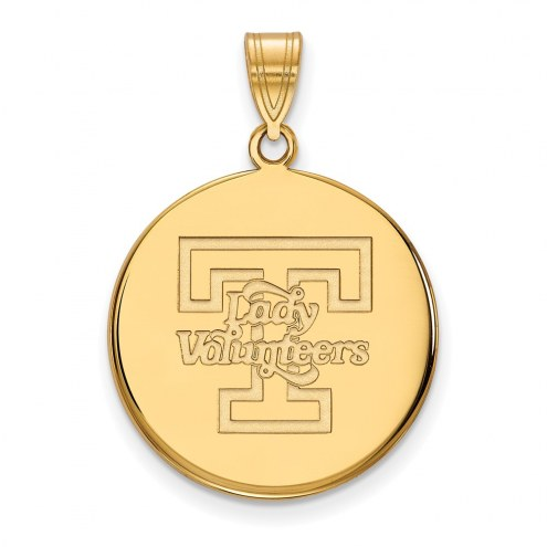 Tennessee Volunteers Sterling Silver Gold Plated Large Disc Pendant