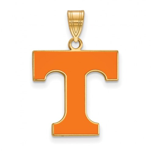 Tennessee Volunteers Sterling Silver Gold Plated Large Enameled Pendant