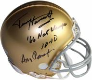 """Terry Hanratty/Ara Parseghian Dual Signed Notre Dame Mini Helmet w/ """"66 Natl Champs 10-10 """"Insc. by Terry Hanratty"""