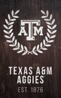 """Texas A&M Aggies 11"""" x 19"""" Laurel Wreath Sign"""