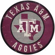 """Texas A&M Aggies 12"""" Circle with State Sign"""