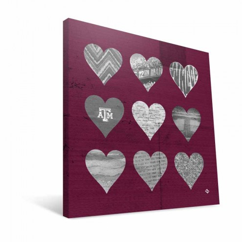 "Texas A&M Aggies 12"" x 12"" Hearts Canvas Print"