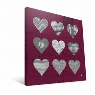 """Texas A&M Aggies 12"""" x 12"""" Hearts Canvas Print"""
