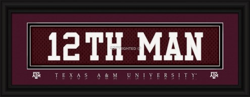 """Texas A&M Aggies """"12th Man"""" Stitched Jersey Framed Print"""