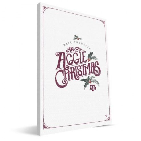 """Texas A&M Aggies 8"""" x 12"""" Merry Little Christmas Canvas Print"""