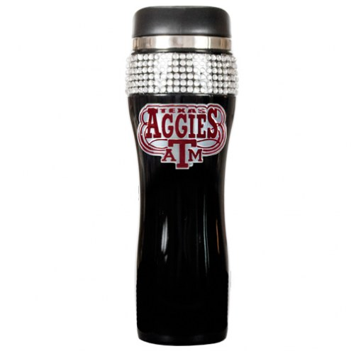 Texas A&M Aggies Black Stainless Steel Bling Travel Tumbler