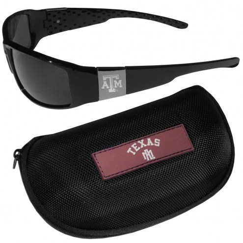 Texas A&M Aggies Chrome Wrap Sunglasses & Zippered Carrying Case