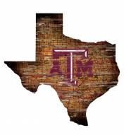 Texas A&M Aggies Distressed State with Logo Sign