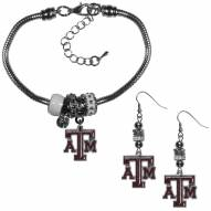 Texas A&M Aggies Euro Bead Earrings & Bracelet Set