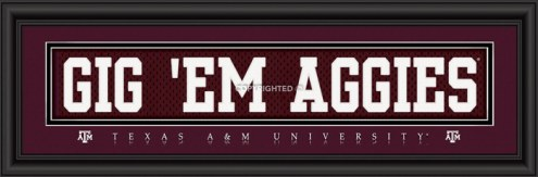"Texas A&M Aggies ""Gig 'Em Aggies"" Stitched Jersey Framed Print"