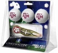 Texas A&M Aggies Gold Crosshair Divot Tool & 3 Golf Ball Gift Pack