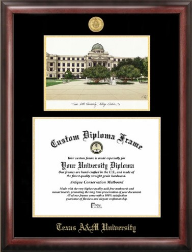 Texas A&M Aggies Gold Embossed Diploma Frame with Lithograph