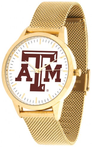 Texas A&M Aggies Gold Mesh Statement Watch