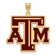 Texas A&M Aggies Sterling Silver Gold Plated Extra Large Enameled Pendant