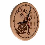 Texas A&M Aggies Laser Engraved Wood Clock