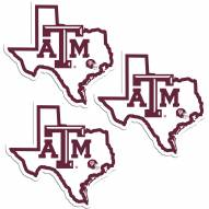 Texas A&M Aggies Home State Decal - 3 Pack