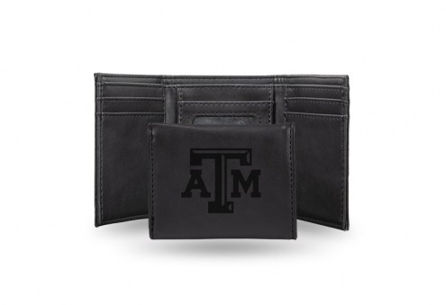 Texas A&M Aggies Laser Engraved Black Trifold Wallet