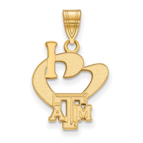 Texas A&M Aggies NCAA Sterling Silver Gold Plated Large I Love Logo Pendant