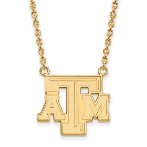 Texas A&M Aggies NCAA Sterling Silver Gold Plated Large Pendant Necklace
