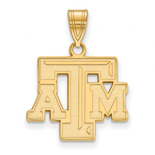 Texas A&M Aggies NCAA Sterling Silver Gold Plated Medium Pendant