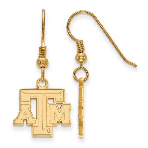 Texas A&M Aggies NCAA Sterling Silver Gold Plated Small Dangle Earrings