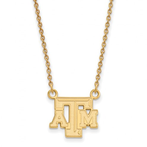Texas A&M Aggies NCAA Sterling Silver Gold Plated Small Pendant Necklace