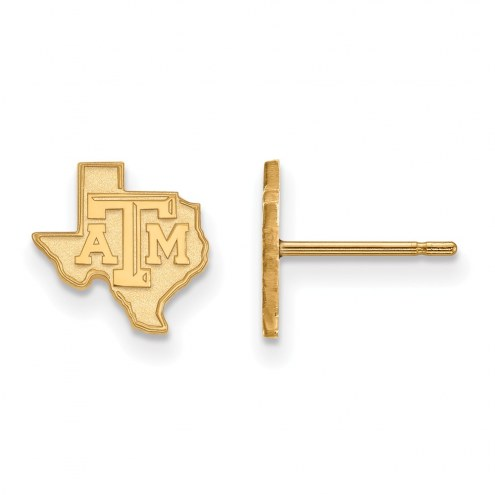 Texas A&M Aggies Sterling Silver Gold Plated Extra Small Post Earrings