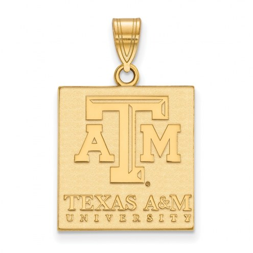 Texas A&M Aggies Sterling Silver Gold Plated Large Pendant