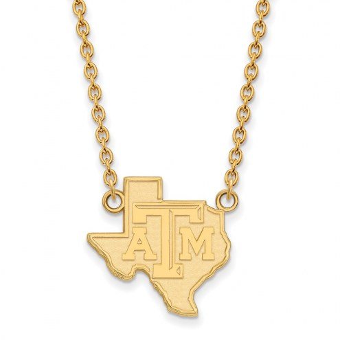 Texas A&M Aggies Sterling Silver Gold Plated Large Pendant Necklace