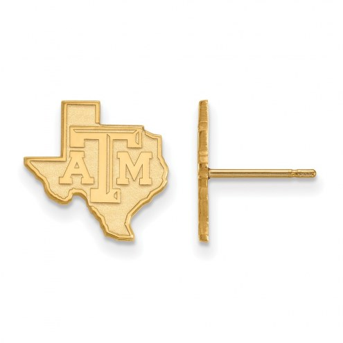 Texas A&M Aggies Sterling Silver Gold Plated Small Post Earrings