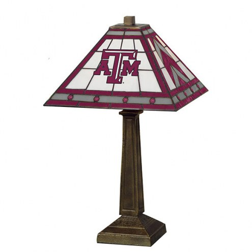 Texas A&M Aggies Stained Glass Mission Table Lamp