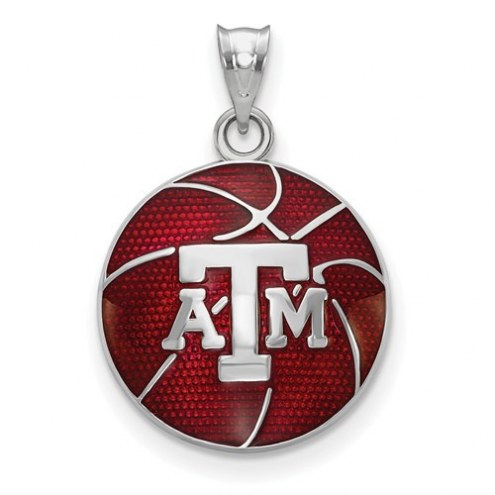 Texas A&M Aggies Sterling Silver Enameled Basketball Pendant