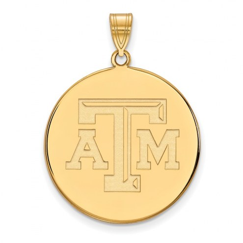 Texas A&M Aggies Sterling Silver Gold Plated Extra Large Disc Pendant