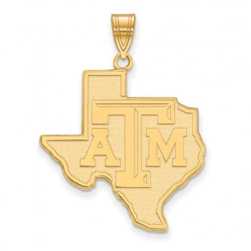 Texas A&M Aggies Sterling Silver Gold Plated Extra Large Pendant