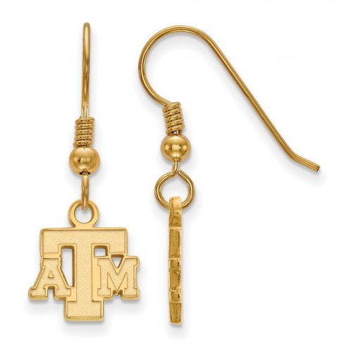 Texas A&M Aggies Sterling Silver Gold Plated Extra Small Dangle Earrings