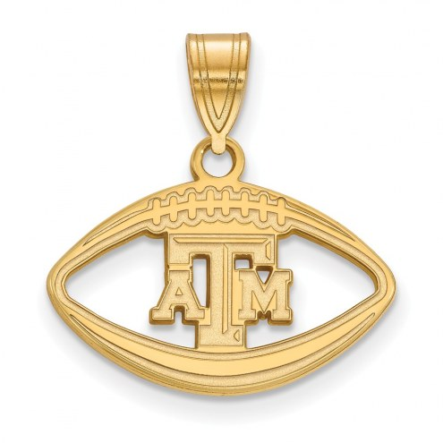 Texas A&M Aggies Sterling Silver Gold Plated Football Pendant