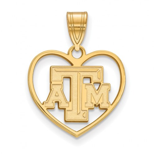 Texas A&M Aggies Sterling Silver Gold Plated Heart Pendant