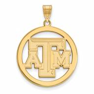 Texas A&M Aggies Sterling Silver Gold Plated Large Circle Pendant