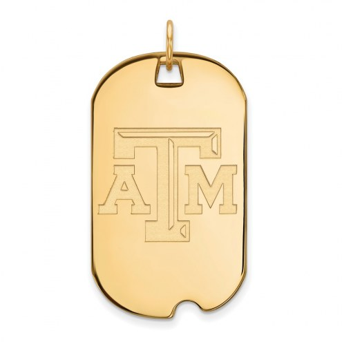 Texas A&M Aggies Sterling Silver Gold Plated Large Dog Tag