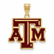 Texas A&M Aggies Sterling Silver Gold Plated Large Enameled Pendant