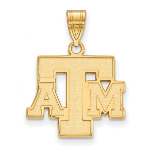 Texas A&M Aggies Sterling Silver Gold Plated Medium Pendant