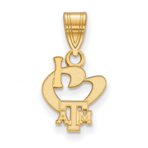 Texas A&M Aggies Sterling Silver Gold Plated Small I Love Logo Pendant