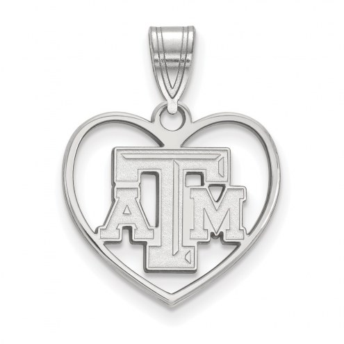 Texas A&M Aggies Sterling Silver Heart Pendant