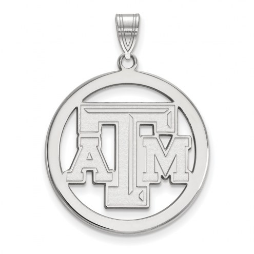 Texas A&M Aggies Sterling Silver Large Circle Pendant
