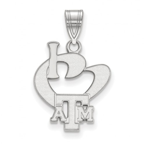 Texas A&M Aggies Sterling Silver Large I Love Logo Pendant