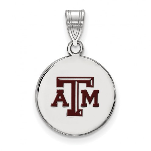 Texas A&M Aggies Sterling Silver Medium Enameled Disc Pendant