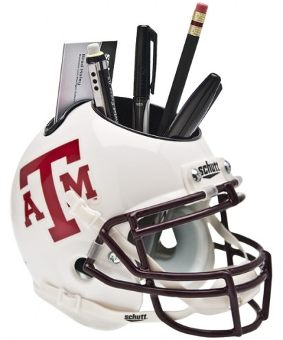 Texas A&M Aggies White Schutt Football Helmet Desk Caddy
