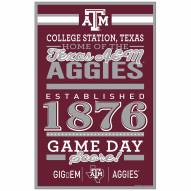 Texas A&M Aggies Established Wood Sign