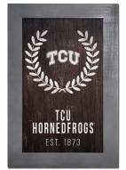 "Texas Christian Horned Frogs 11"" x 19"" Laurel Wreath Framed Sign"