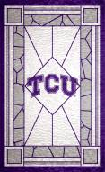 "Texas Christian Horned Frogs 11"" x 19"" Stained Glass Sign"